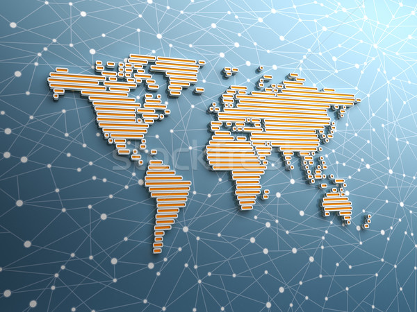 Wereldkaart abstract lang rechthoekig tonen Stockfoto © HerrBullermann