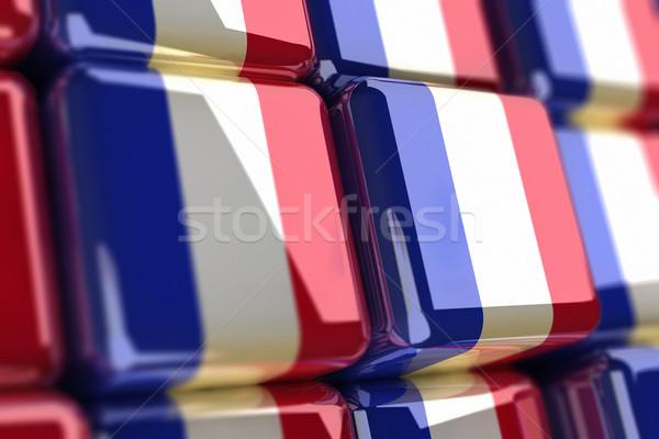 Francia nagy köteg kockák zászló doboz Stock fotó © HerrBullermann