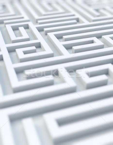 Fehér labirintus szelektív fókusz renderelt kép siker elveszett Stock fotó © HerrBullermann