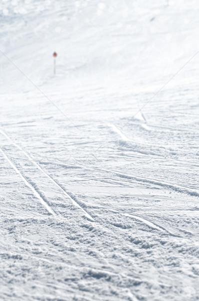 Közelkép sí útvonal kiválasztott fókusz hó Stock fotó © HerrBullermann