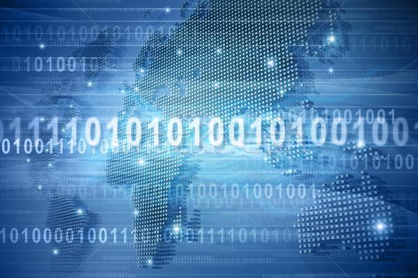 Cyfrowe mapie świata Pokaż świat kod binarny komputera Zdjęcia stock © HerrBullermann