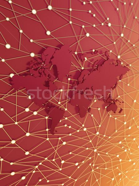 Mundo informação teia abstrato mapa do mundo mapa Foto stock © HerrBullermann