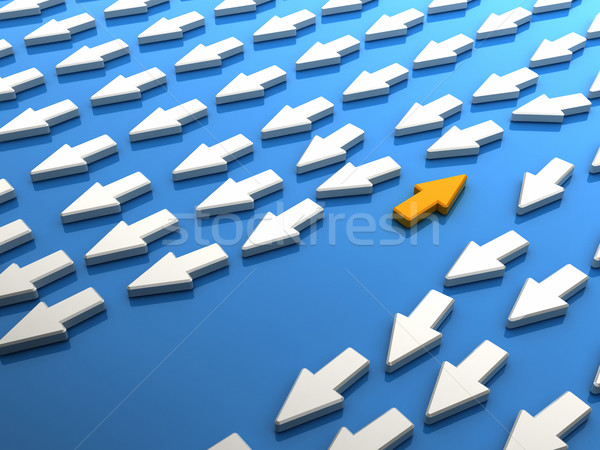Oranje pijl menigte abstract visie winnen Stockfoto © HerrBullermann