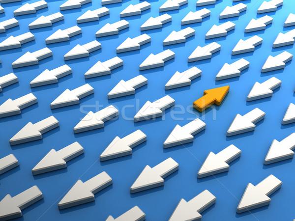 Naranja flecha multitud resumen ganar líder Foto stock © HerrBullermann