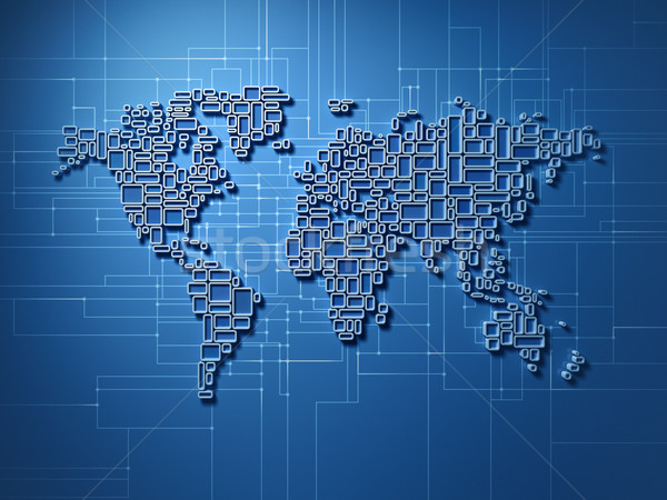 Small square world map with global network  Stock photo © HerrBullermann