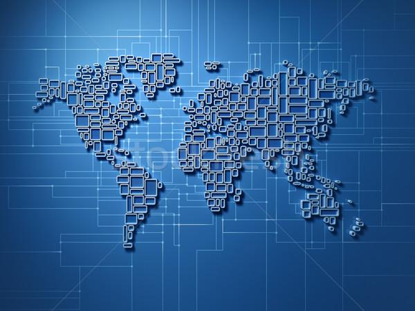 Pequeno praça mapa do mundo global rede tridimensional Foto stock © HerrBullermann