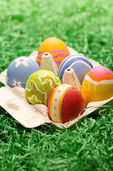 Caixa áspero ovos de páscoa pequeno artificial primavera Foto stock © HerrBullermann