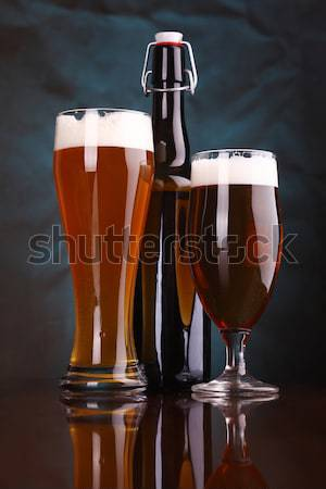 Sötét sör áramló lövés mozaik magas Stock fotó © hiddenhallow
