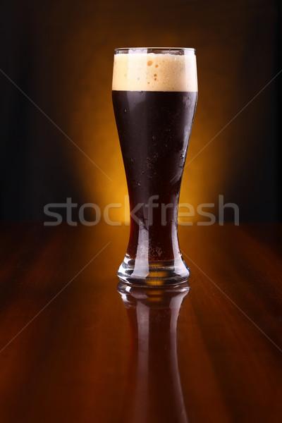 Glass of dark beer Stock photo © hiddenhallow