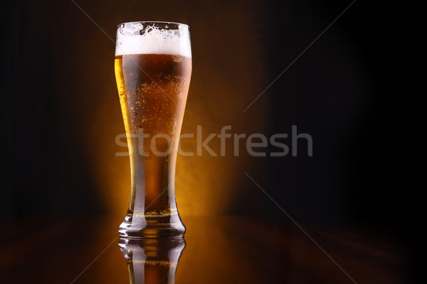 Glass of light beer Stock photo © hiddenhallow