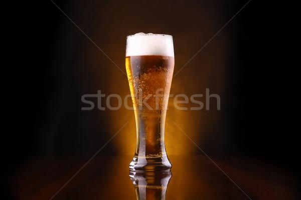 Glas lang donkere bubbels Geel Stockfoto © hiddenhallow