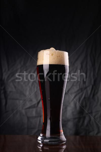 Glas donkere bier lang grijs Stockfoto © hiddenhallow