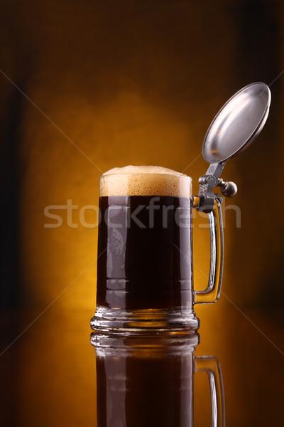 Birra mug buio sopra vetro Foto d'archivio © hiddenhallow