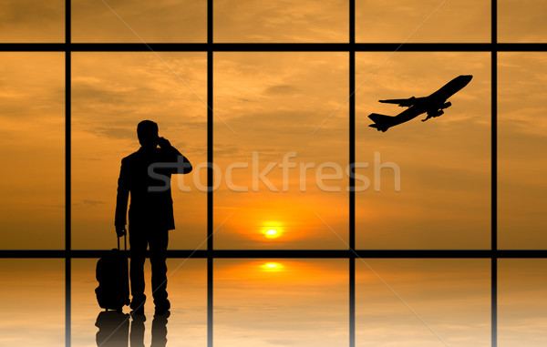 Silhouette executive businessman prepare to connect his business Stock photo © hin255