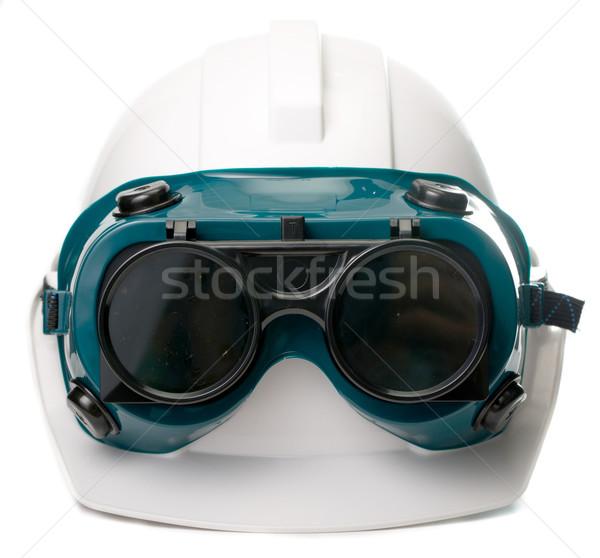 Segurança seis óculos de proteção isolado branco trabalhar Foto stock © hin255
