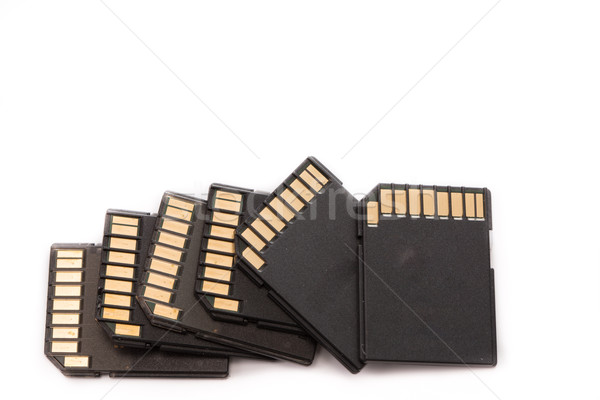 Stack black memory SD card isolated  Stock photo © hin255