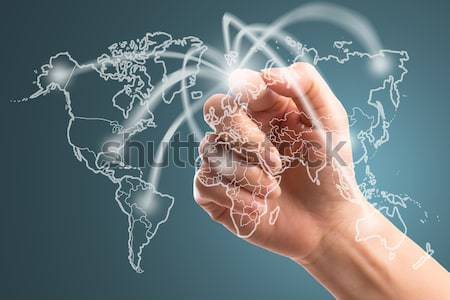 Businessman touching network around the world  Stock photo © hin255
