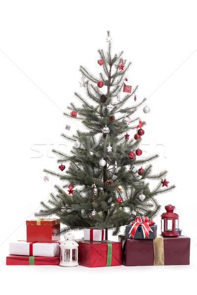 árvore de natal decoração branco vermelho dom apresentar Foto stock © hin255