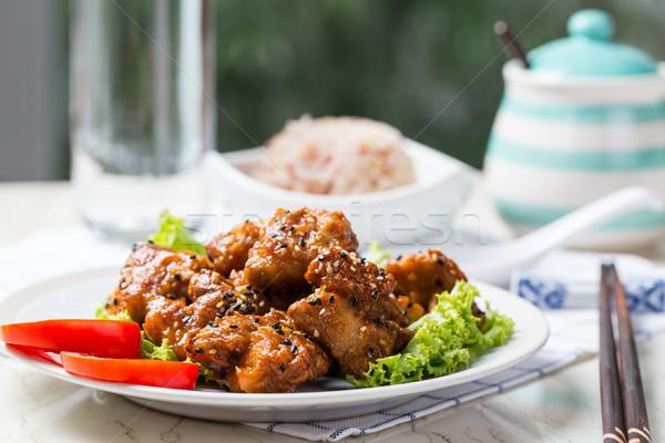 Sésamo pollo teriyaki receta todo grano Foto stock © hin255