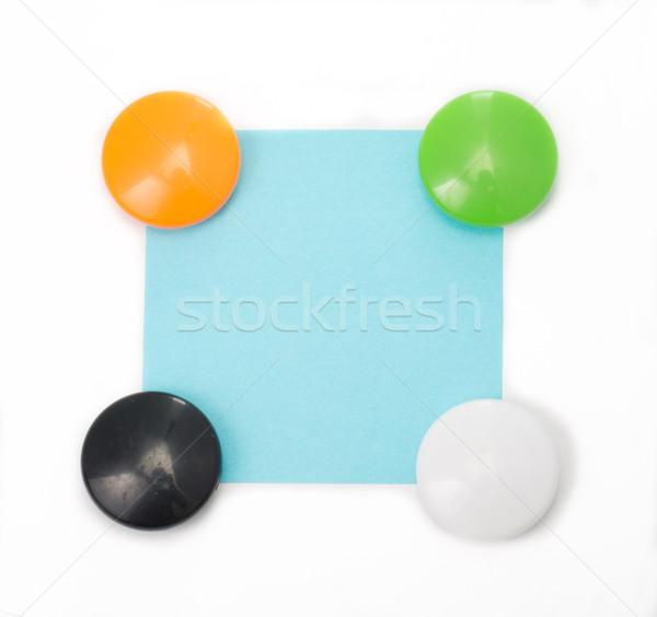 Kleurrijk magneet papier geïsoleerd witte teken Stockfoto © hin255