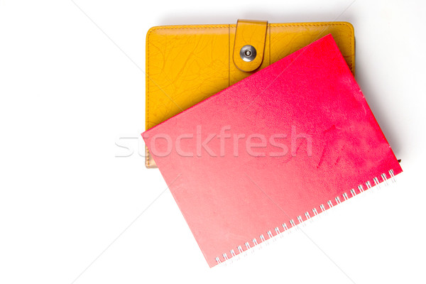 Foto stock: Diariamente · nota · livro · isolado · branco · negócio