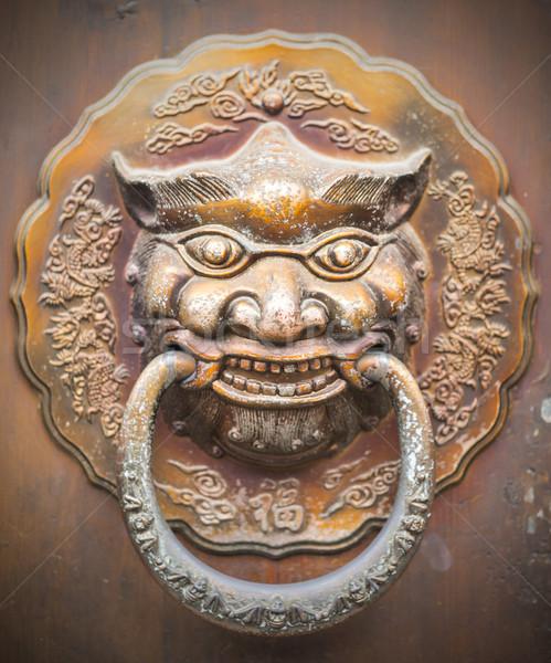 Close up Golden Chinese Old Door  Stock photo © hin255