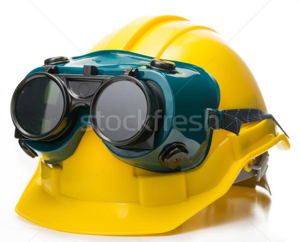 Seguridad sombrero gafas de protección aislado blanco trabajo Foto stock © hin255