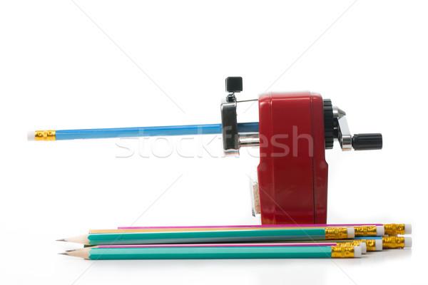 Czerwony kolor metal farbują temperówka odizolowany Zdjęcia stock © hin255