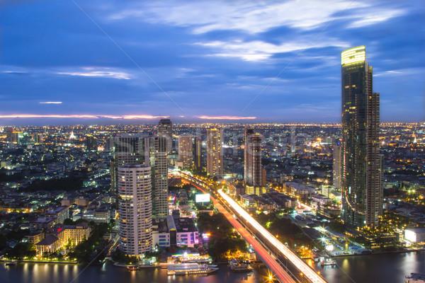 Thaiföld városkép szürkület idő üzlet város Stock fotó © hin255