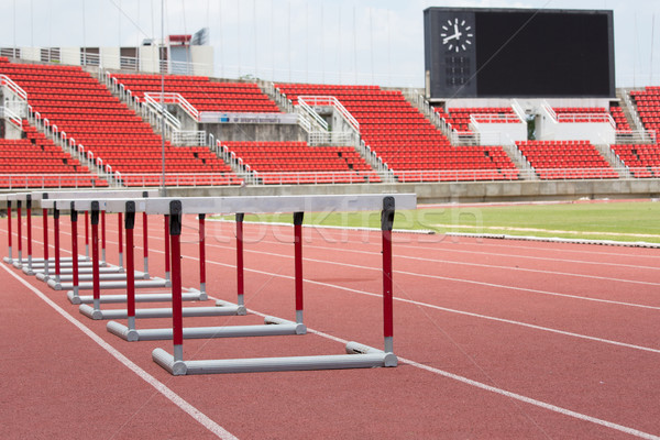 hurdles on the red running track prepared  Stock photo © hin255