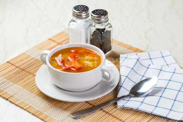野菜スープ トマト ジャガイモ ニンジン 緑 スタジオ ストックフォト © hin255