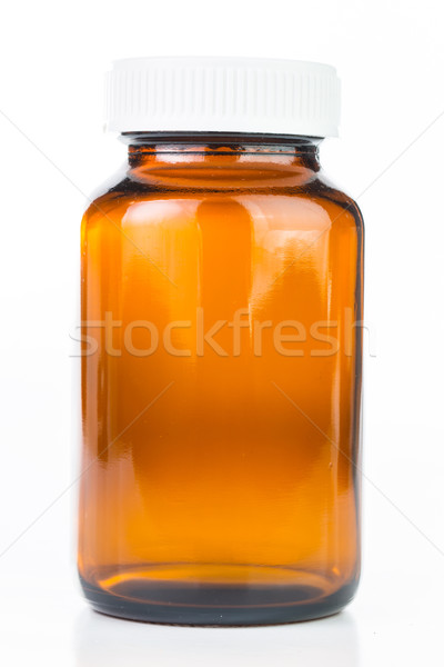 Stock photo: Close up Vial of pills medical container