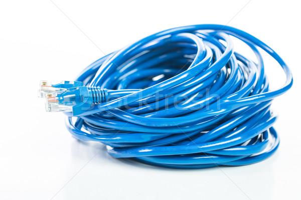LAN kábel vonal izolált fehér üzlet Stock fotó © hin255
