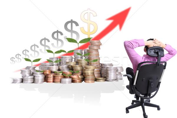 ビジネスマン 座る 見 成長 お金 投資 ストックフォト © hin255