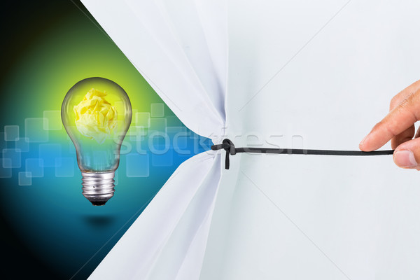 Stock photo: Pull white paper for show new idea
