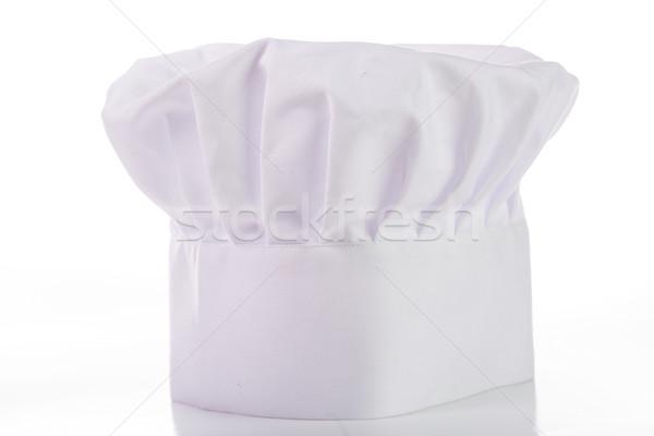 Szakács sapka fehér izolált felirat szakács szövet Stock fotó © hin255