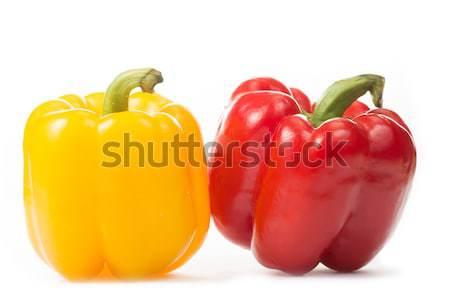 Vermelho amarelo páprica isolado branco verde Foto stock © hin255