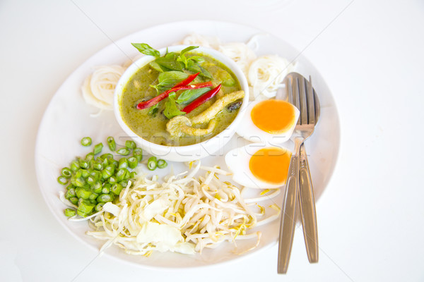 Vermicelli amd  Chicken green curry  Thai food style Stock photo © hin255