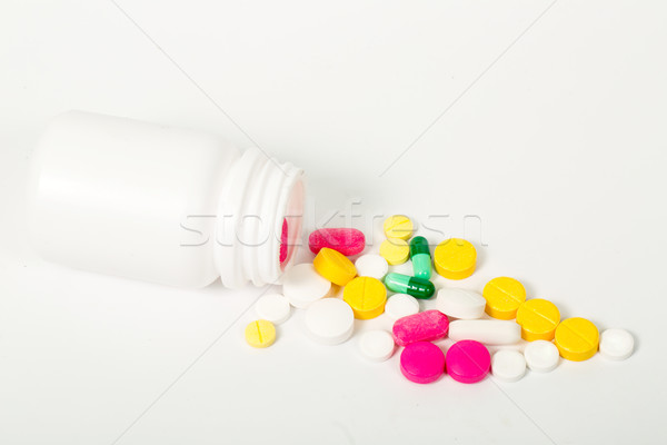 Pílulas branco garrafa drogas Foto stock © hin255