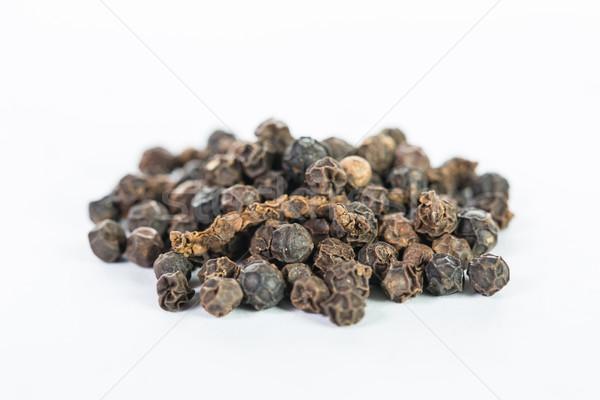 黒コショウ 孤立した 白 木材 黒 マクロ ストックフォト © hin255