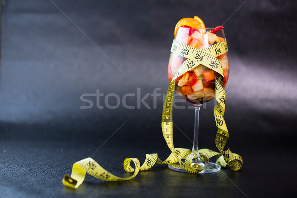 Diet fruit salad and measuring tape slimming Stock photo © hin255