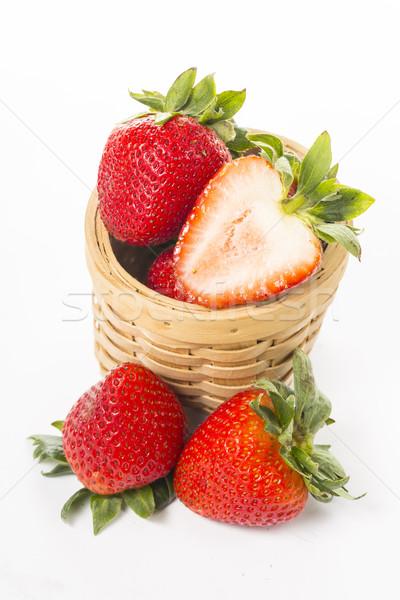 клубники ягодные поперечное сечение изолированный белый красный Сток-фото © hin255