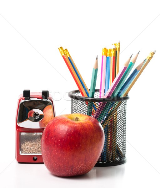 Apple,pencils and Red color metal pencil sharpener  Stock photo © hin255