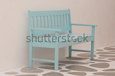 Açık mavi sokak sandalye park şehir duvar Stok fotoğraf © hinnamsaisuy
