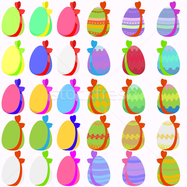 Set of 30 easter eggs with bow Stock photo © Hipatia
