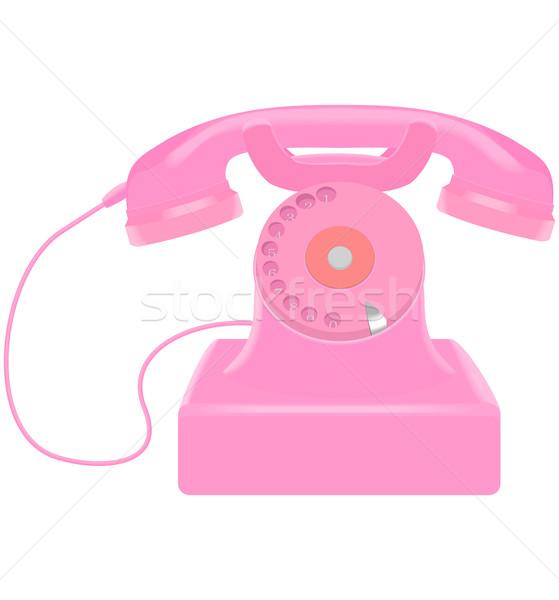 Rosa retro telefono bianco business tecnologia Foto d'archivio © Hipatia