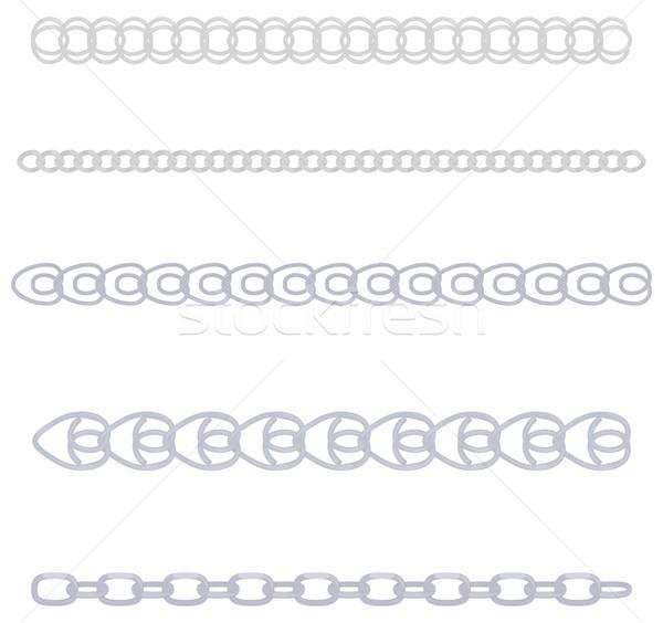 Argento catena set metallico catene diverso Foto d'archivio © Hipatia