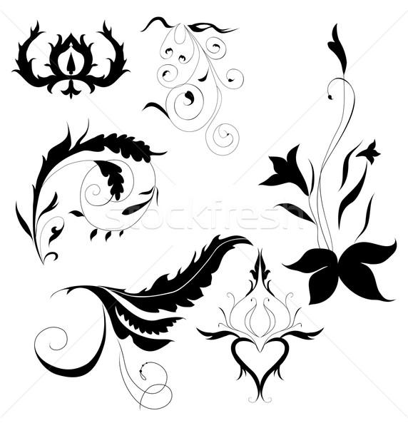 Decorativo elementi set impianto ornamento bianco Foto d'archivio © Hipatia