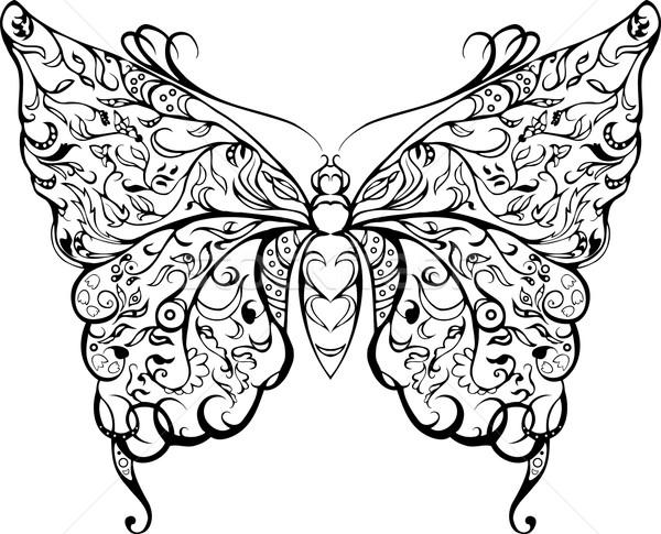 Zwarte kant vlinder decoratief stencil witte Stockfoto © Hipatia