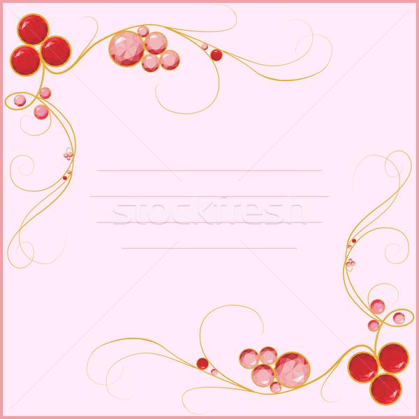 Gioiello scheda vuota rosa frame carta rosso Foto d'archivio © Hipatia